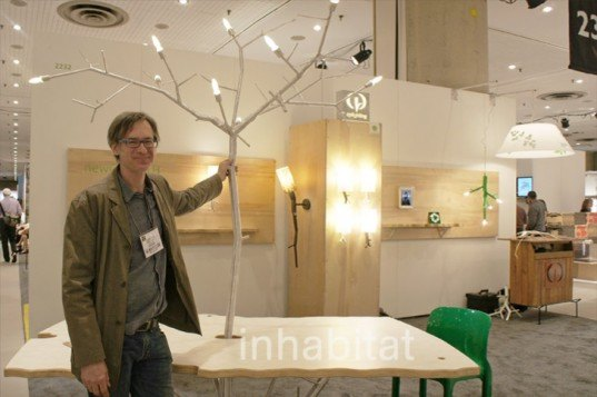 CPLighting, Chris Poehlmann, Recycled Pipe Lamps, Tree branch lamps, tree lamps, tree lamp dining room table, LED lamps, LED chandelier, branch chandelier