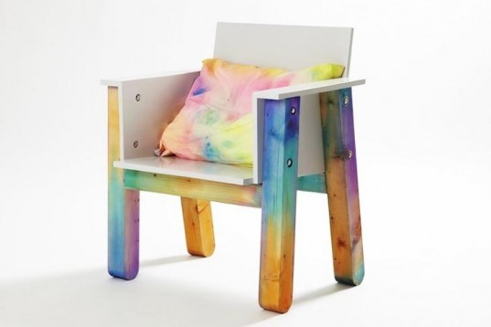 Easy Chair, Fredrik Paulsen, colored wood, Royal College of Art, pigments making, experimental design, wooden chair, Art, green furniture