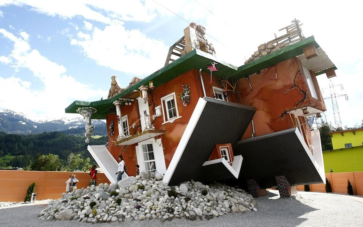 Austrian Upside-Down House looks as if it were dropped from the ...