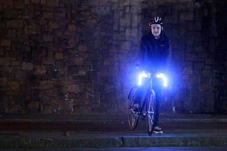 Glo bar integrates low energy leds into bicycle handlebars innovation mozeypictures Choice Image