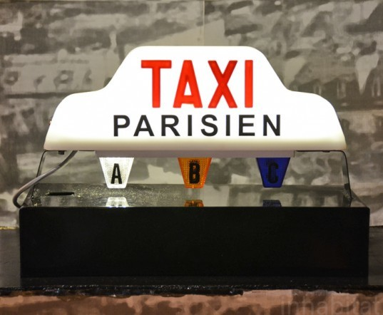 green design, eco design, sustainable design, recycled lamp, Off Duty No More, Gillhem de Castelbajac, recycled taxi light, recycled cab light