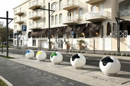 PACMAN Recycling Containers, AND-RE, sustainable design, recycling, green design, public garbage design, portugal street design, recycling cans