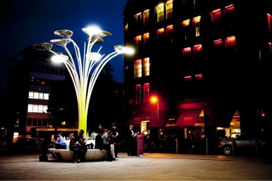 ross lovegrove, solar tree, clerkenwell design week, sustainable art, solar artwork, solar design, artemide, solar panels