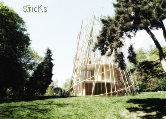 Djuric Tardio, Sticks, kindergartens, bioclimatic design, prefabricated design, modular design, small footprint, green design, sustainable design, eco-design, urban parks, planning law, Paris, sustainable development, natural materials