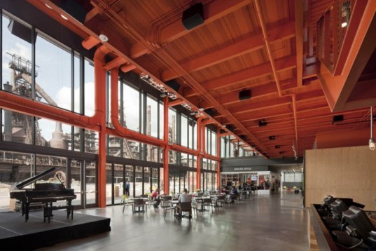ArtsQuest Center, Spillman Farmer Architects, pre-cast concrete panels, glass, steel, International Orange, Pennsylvania, Bethlehem Corporation, arts center, culture hub, Architecture, Art, recycled building