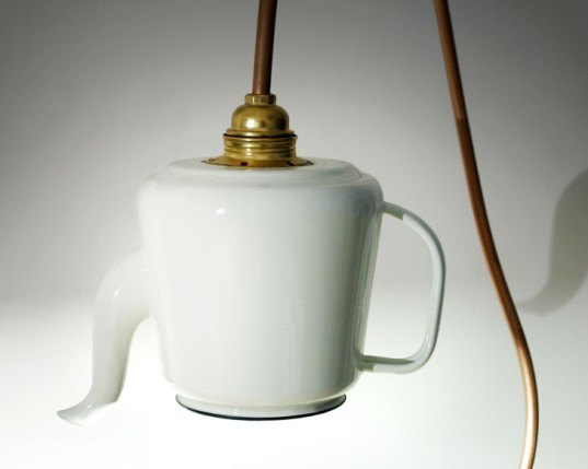 Repurposed, teapot, lamp, green lighting, tommaso guerra, teapot lamp, green design, recycled