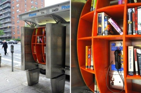 Top 6 Pop Up Libraries, library, pop up library, eco library, eco inspiration, nyc phone booth library