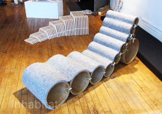 Wave lounge, 0-to-1, recycled cardboard lounge, eco lounge, eco furniture, green furniture