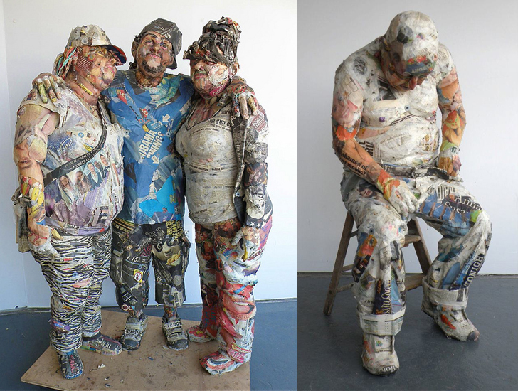 Artist Will Kurtz Sculpts Lifelike People Out Of Recycled