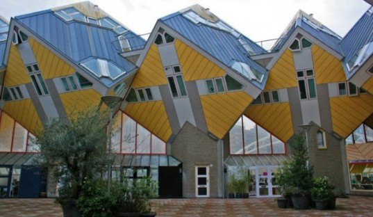 cube house, piet blom, rotterdam cubic house, woonwoud, sustainable design, green architecture, eco design, living roofs