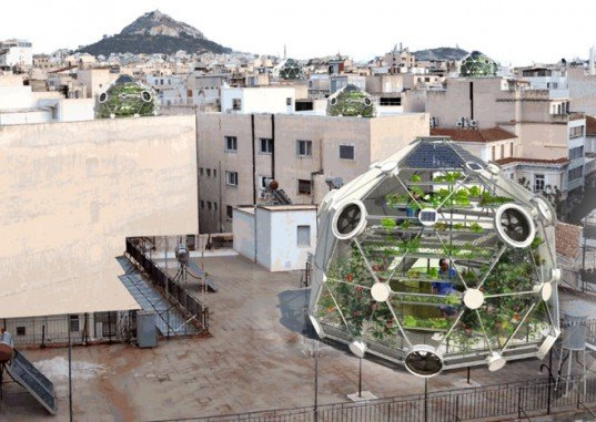 globe (hedron), geodesic dome, rooftop farm, rooftop greenhouse, roof garden, geodesic greenhouse