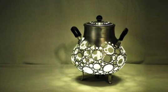 Recycled Garbage Pot Lamp, green lamp, sustainable lamp, led bulb, led lamp, low-energy lighting, sustainable design, green design
