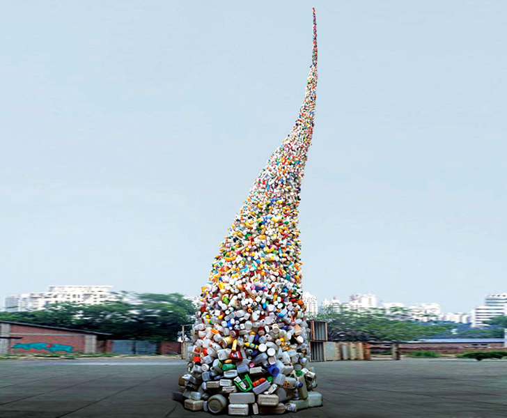 Wang Zhiyuan's 37-Foot-Tall Trash Tornado Spirals Into the Sky