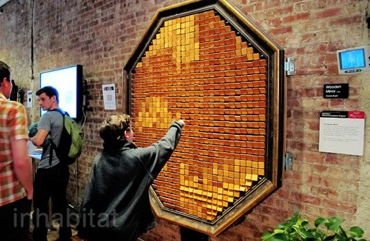 wood mirror, digital mirror, pixellated mirror, mirror technology, daniel rozin