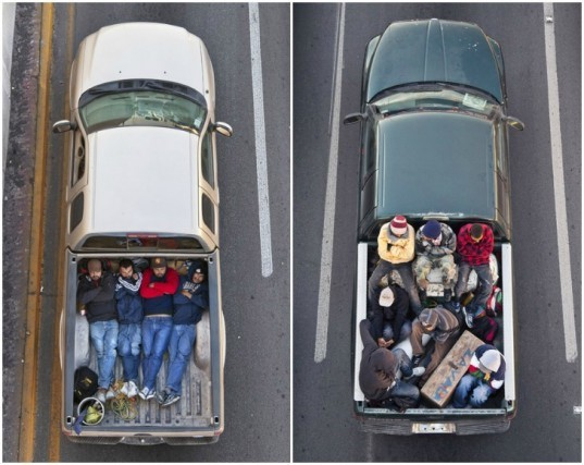 Alejandro Cartagena, car pooling, suburban sprawl, environmental issues, eco photography, social issues, environmental photos, sustainable art, green design, mexico workers, car poolers