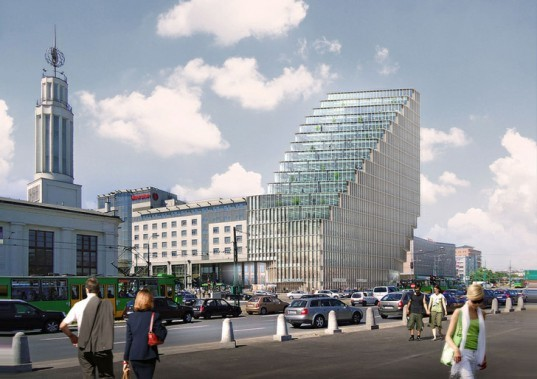 BREEAM, Polish green building, glass fiber concrete, Poland green building, mixed use green tower, MVRDV,