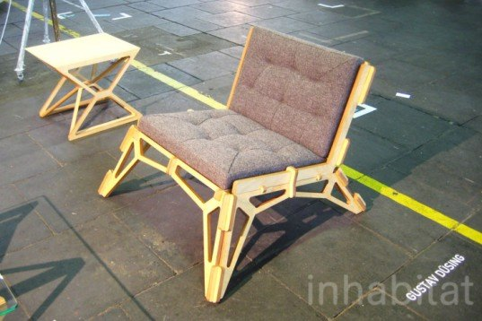 Gustav Duesing, Flat Pack, Interlocking Chair, 23D, DMY Berlin 2012, skeleton, Birch-Plywood, green furniture, Transforming Furniture