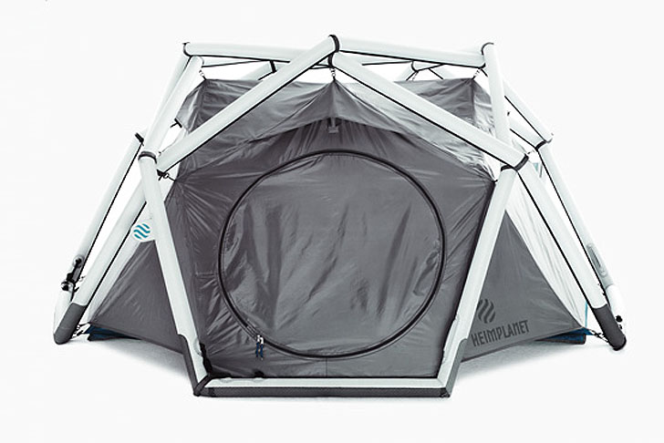 Inflatable Concrete Tent : Heimplanet s inflatable geodesic dome tent sets up in a