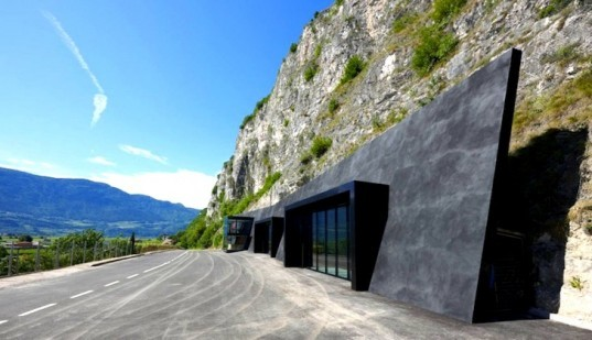 Italy, Bergmeisterwolf Architekten, Margreid, fire station, in the rock, green design, sustainable design, eco-design, green design, pellet heating, daylighting, energy efficiency,