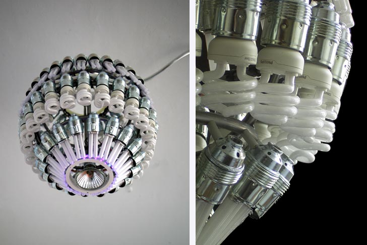 Glimmering glow chandelier is made from recycled cfl bulbs upgraded glimmering glow chandelier is made from recycled cfl bulbs upgraded with leds inhabitat green design innovation architecture green building aloadofball Image collections
