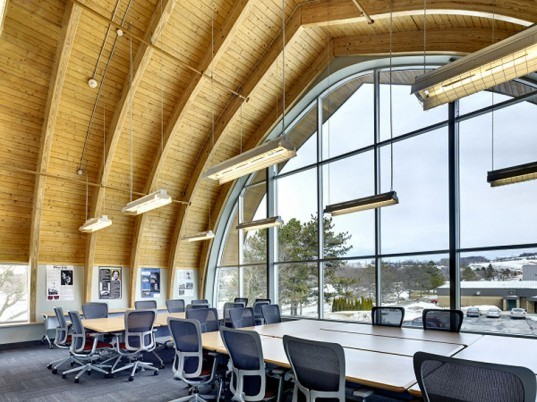 green design, eco design, sustainable design, LEED Silver, SUNY Morrisville State College, adaptive reuse, Center for Design and Technology, Perkins Eastman Architects, reclaimed barn, energy efficient glass