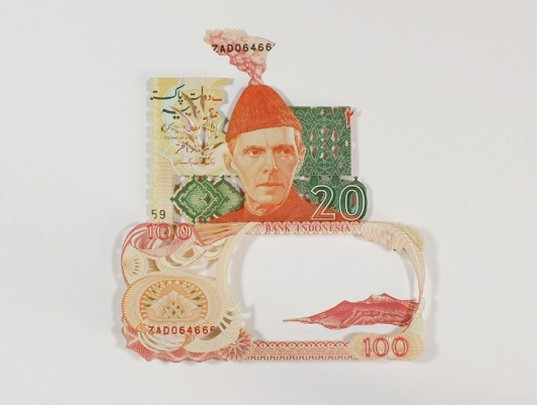 green design, eco design, sustainable design, Scott Campbell, money art, currency collage, Art Basel Switzerland, Rodrigo Torres, Chad Person, Dollar Collage, recycle art