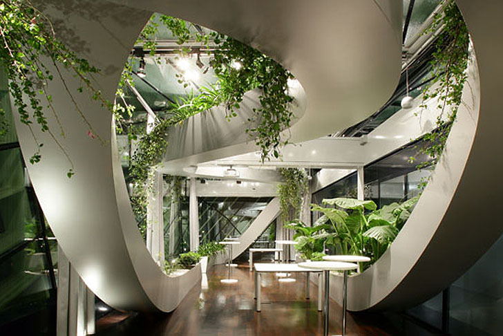 Swirling Tropical Garden Blooms Within Ljubljana's Chamber of Commerce