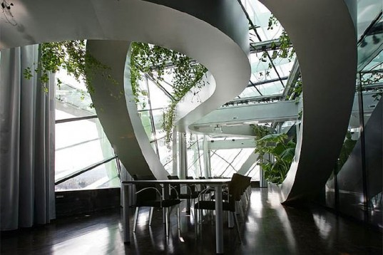Air quality, Botanical, green Interiors, Sadar+Vuga Architects, Ljubljana's Chamber of Commerce and Industry, Slovenia, glazed shelter, Swirling Lush Tropical Garden