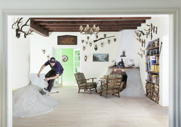 Pro Skateboarder Transforms A Hunting Lodge Into An Indoor Skatepark In Austria