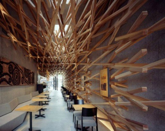 Starbucks Cafe, Kengo Kuma, wood interiors, fukuoka japan, sustainable design, green architecture, green design