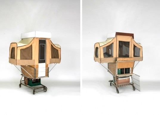 Kevin Cyr, Camper Kart, social design, tiny home, recycled materials, green design, sustainable design, eco-design, shopping cart, nomadic life, mobile home, portable home