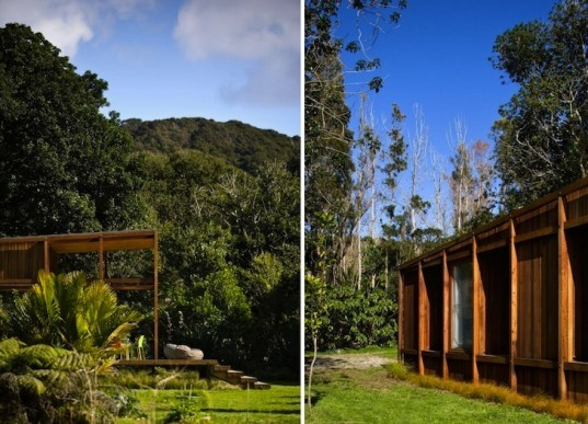 Crosson, Clarke and Carnachan, Great Barrier House, solar-powered, renewable energy, sustainable materials, green design, sustainable design, eco-design, water conservation, daylighting, New Zealand, Great Barrier Island, Low E Glass, timber,