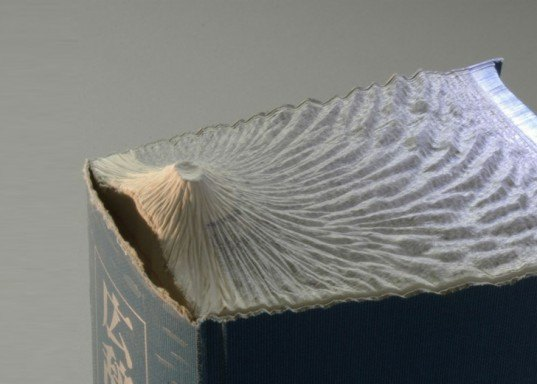 Guy Laramee, Guan Yin, book carvings, mountains, topographic, recycled books, art, Recycled Materials