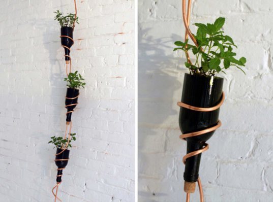 Make A Diy Modern Herb Garden From Recycled Wine Bottles