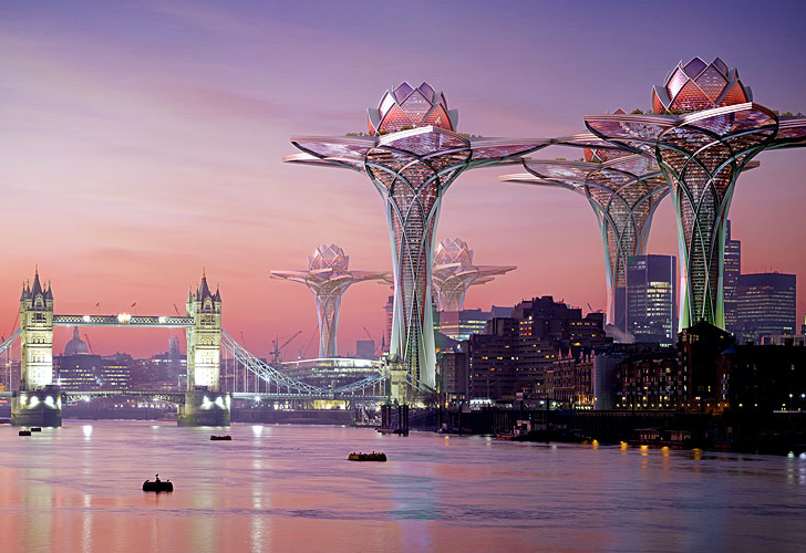 City In The Sky Futuristic Flower Towers Soar Above