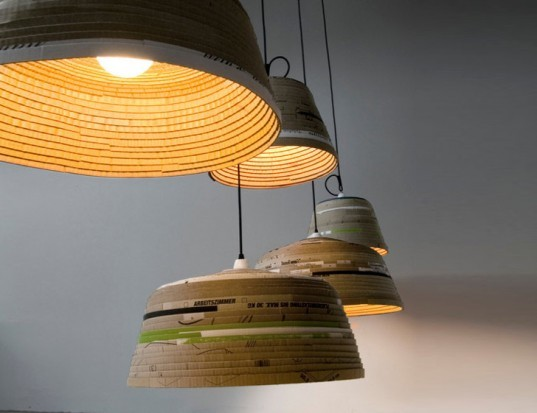 Showraum, berlin, Michael Wolke, Green Products, Recycled Materials, Recycled Cardboard, Hanging Light, r ecycling / Compost
