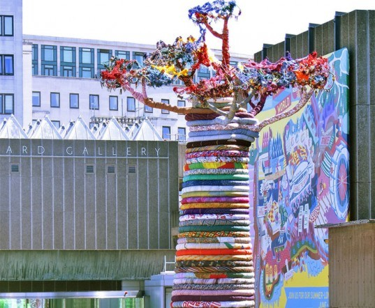 pirate technics, under the baobab, tree installation, tree art textile installation, colorful art, public art, southbank center, sustainable artwork, green art, London artwork
