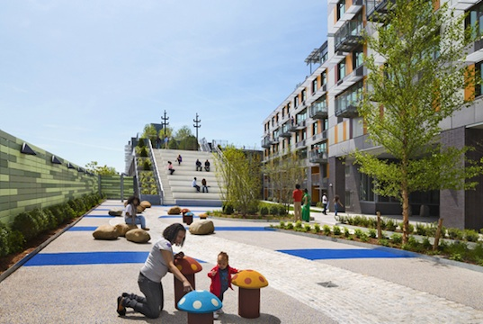 Via Verde, Grimshaw Architects, Dattner Architects, Bronx, low-income housing, food coop, mixed-use development, natural ventilation, daylighting, energy-efficiency, green design, sustainable design, eco-design, urban design, recycled materials, low carbon footprint