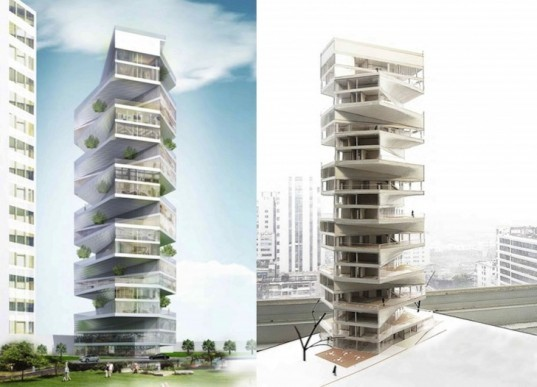 LYCS Architecture, Lima, Peru, Writhing Tower, green design, sustainable design, eco-design, urban green space, Pacific Ocean, garden, residential tower, urban planning, population growth