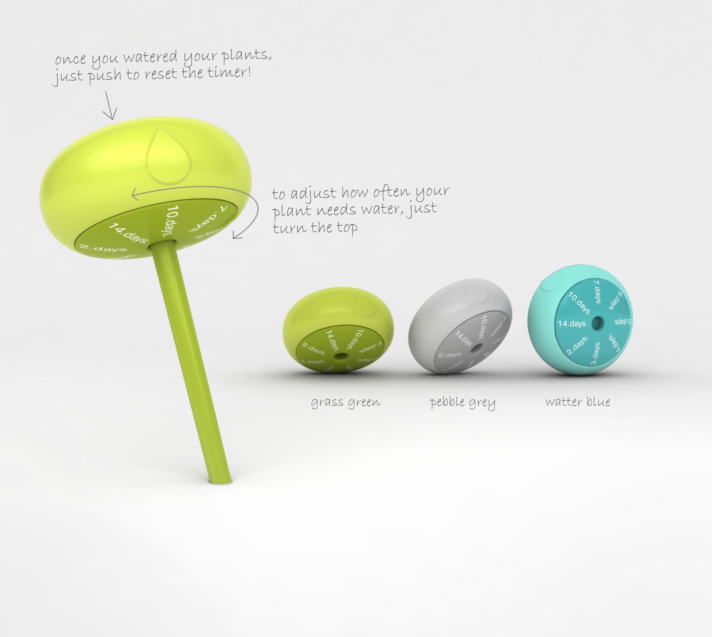 the droplet reminds forgetful gardeners when to water their plants