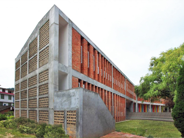 Tongjiang Recycled Brick School By Rufwork Inhabitat Green Design Innovation Architecture Building