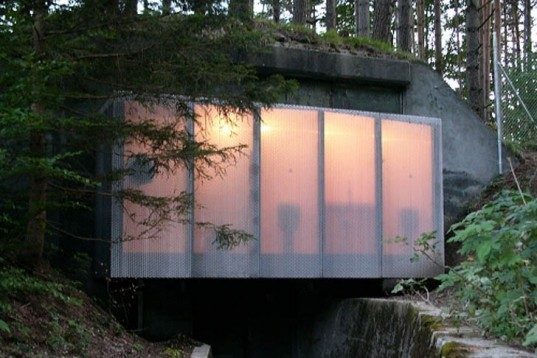 Atelier-f, Cultural Center, Switzerland, Angebauter Tarnrucksack, recycled military shelter, bunker, cable car station, Architecture, Green Materials, locally sourced wood