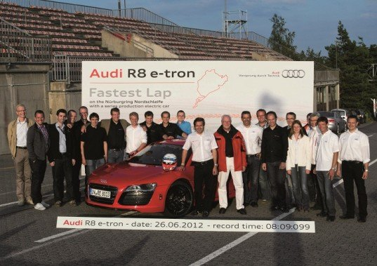Audi, Audi R8, Audi R8 e-tron, electric car, Audi electric car, electric car world record, green transportation, Audi e-tron, green car, electric sports car, electric car