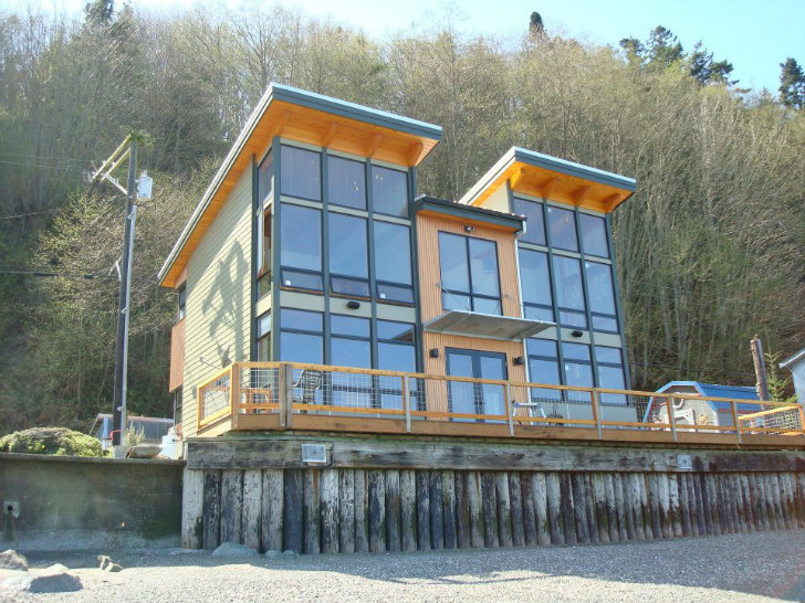 Camano island fabcab is a timber frame prefab kit house in for Kit home designs wa