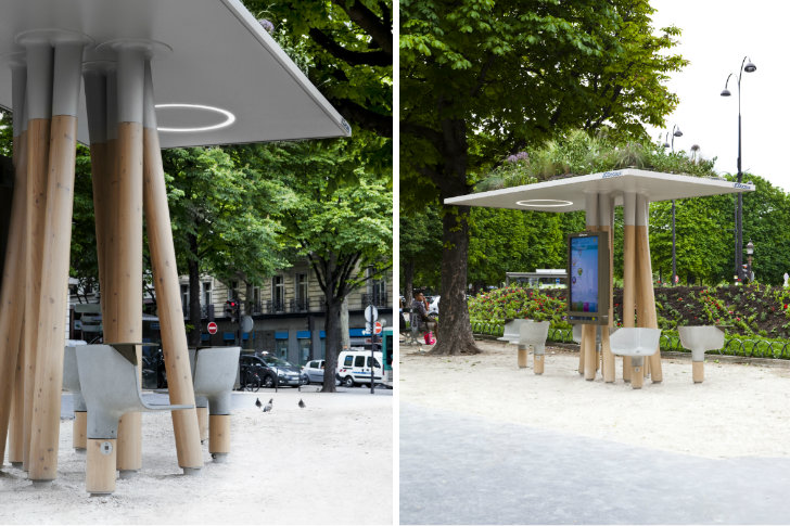 Escale num rique is a free green roofed wifi station in for City design arredo urbano