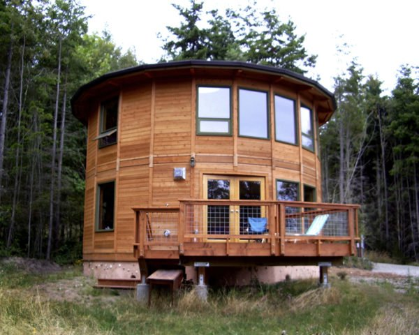 wood yurt, two story round home, silo house