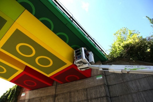 LEGO, paint, art, urban renewal, green design, sustainable design, Wuppertal, Germany, bridge, Megx, Martin Heuwold
