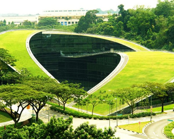 School of Art, Design and Media, Nanyang Technological University, Singapore, architecture, eco design, green roof