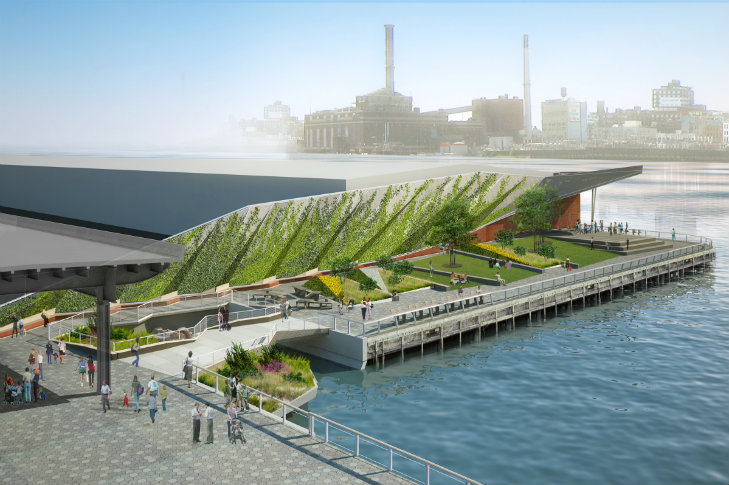New east river waterfront esplanade ecopark at pier 35 for Waterfront landscape design