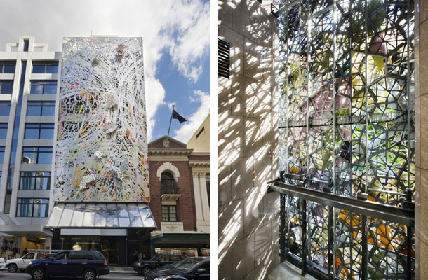 studio 505 39 s textured wintergarden facade in brisbane is